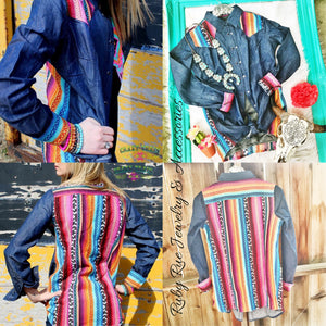Crazy Train Brand Serape Jean Tunic - Ruby Rue Jewelry & Accessories
