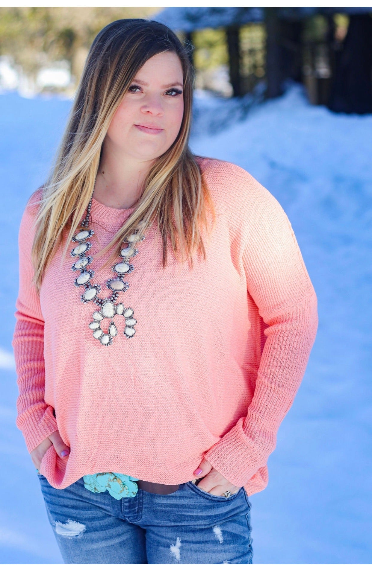Coral Pink Lightweight Sweatet - Ruby Rue Jewelry & Accessories