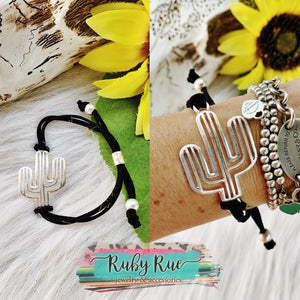 Silver Cactus Tie Bracelet - Ruby Rue Jewelry & Accessories