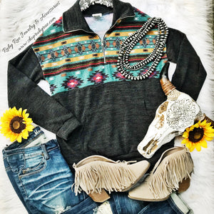 Teal Aztec Pullover - Ruby Rue Jewelry & Accessories