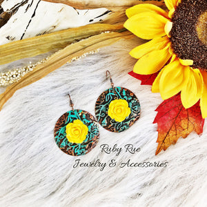 Mustard Floral Western Earrings - Ruby Rue Jewelry & Accessories