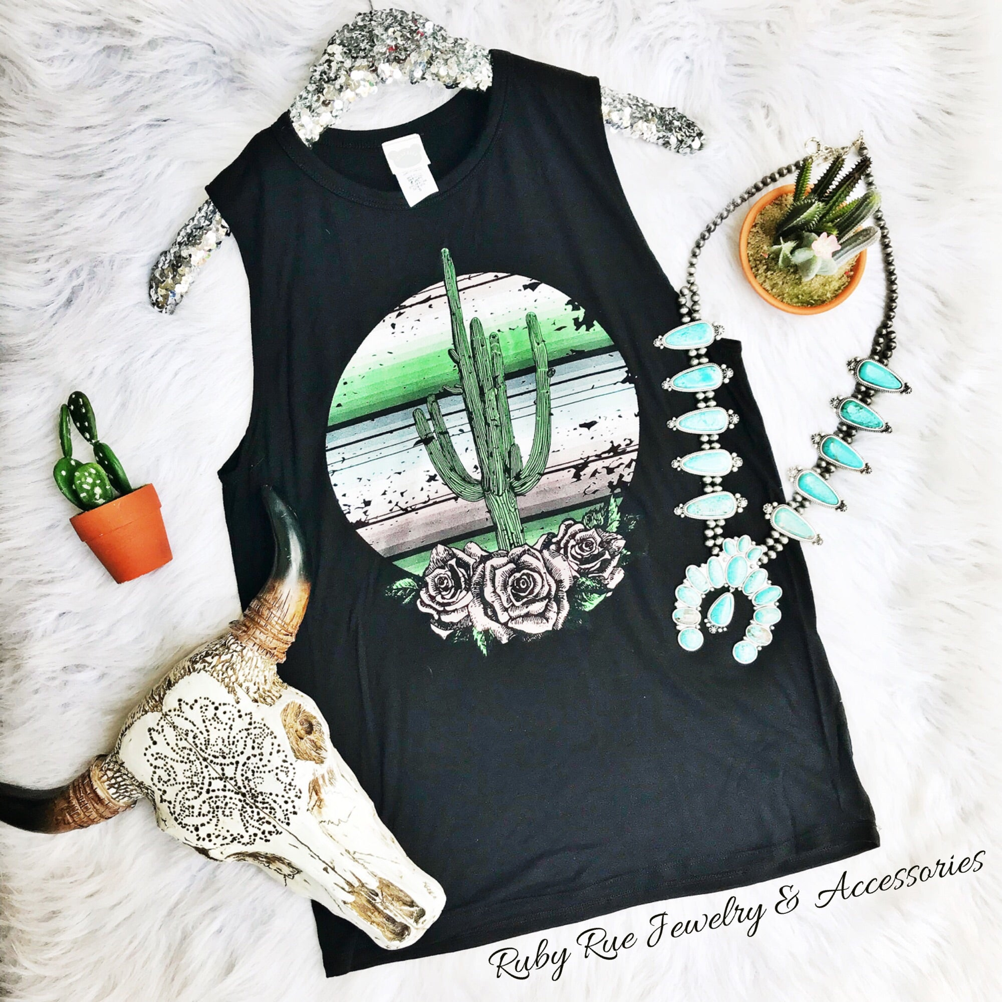 Cactus Muscle Tank - Ruby Rue Jewelry & Accessories