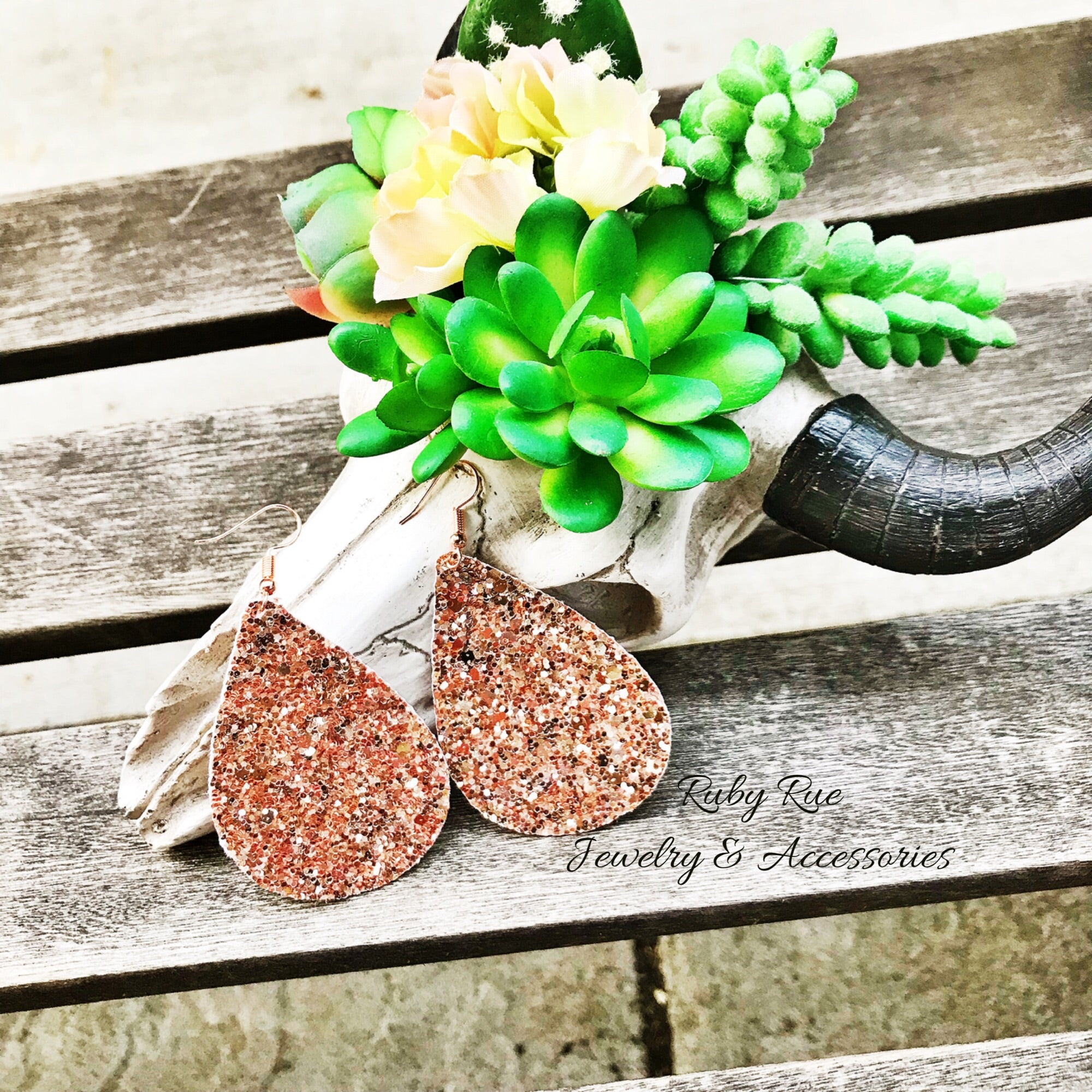 Rose Gold Glitter Leather Earrings - Ruby Rue Jewelry & Accessories