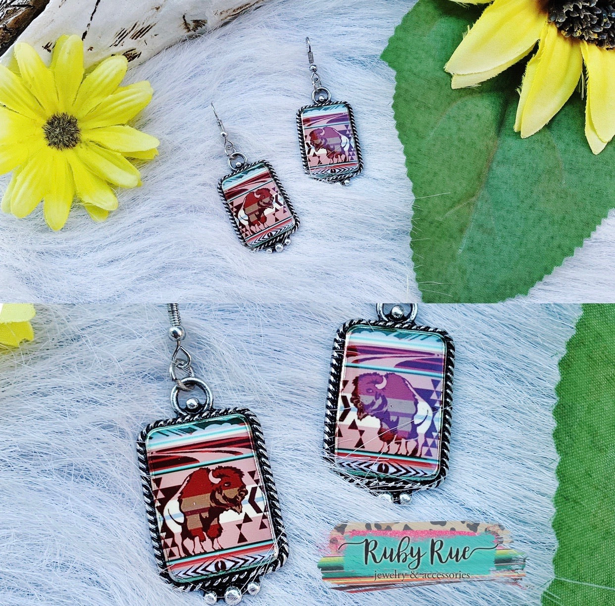 Serape Buffalo Earrings - Ruby Rue Jewelry & Accessories