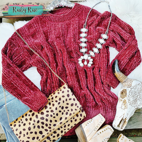 Cranberry Chenille Sweater - Ruby Rue Jewelry & Accessories
