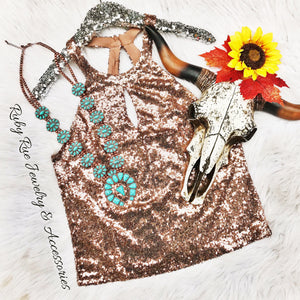 Rose Gold Sequin Strappy Tank - Ruby Rue Jewelry & Accessories