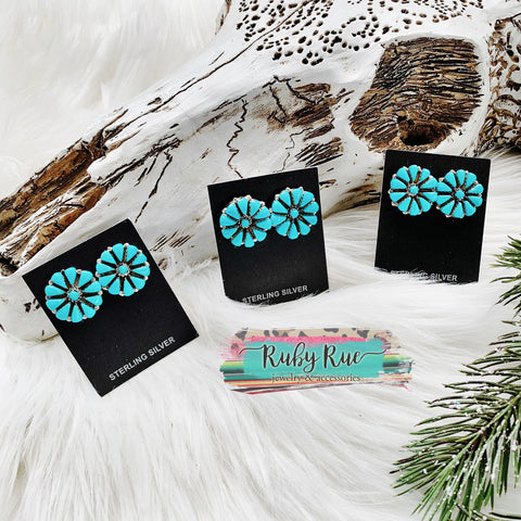 Authentic Turquoise Blossom Earrings
