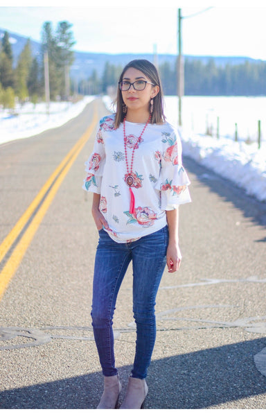 White Blossom Top - Ruby Rue Jewelry & Accessories