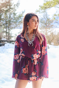 Strawberry Wine Long Sleeve Floral Romper - Ruby Rue Jewelry & Accessories