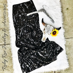 Black Sequin Maxi Skirt - Ruby Rue Jewelry & Accessories
