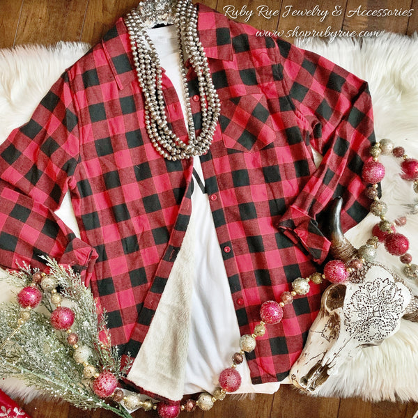 Backwoods Sherpa Flannel - Ruby Rue Jewelry & Accessories