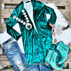 Teal Velvet Duster - Ruby Rue Jewelry & Accessories