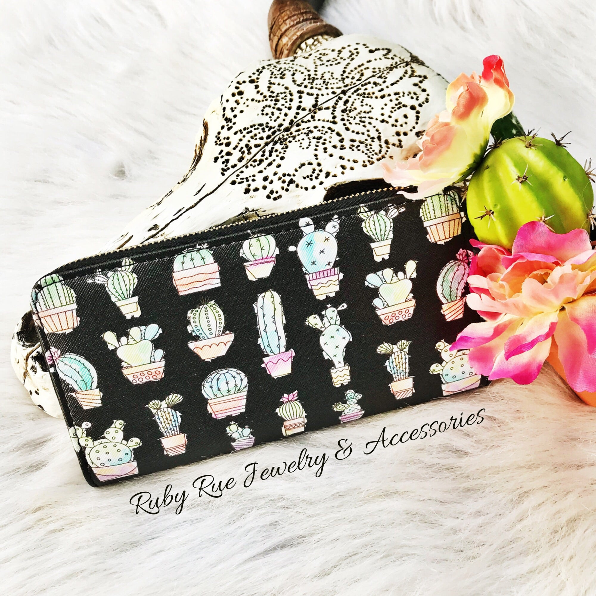 Black Cactus Wallet - Ruby Rue Jewelry & Accessories