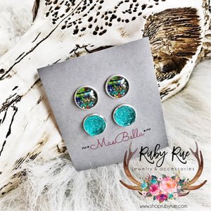Turquoise Aztec Druzy Earring Set - Ruby Rue Jewelry & Accessories