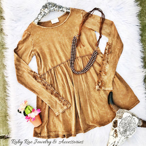 Caramel Embroidered Long Sleeve - Ruby Rue Jewelry & Accessories