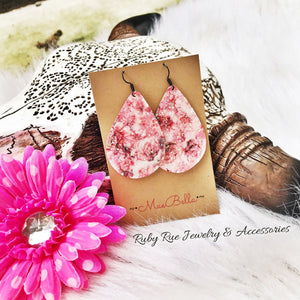 Pink Floral Glitter Earrings - Ruby Rue Jewelry & Accessories