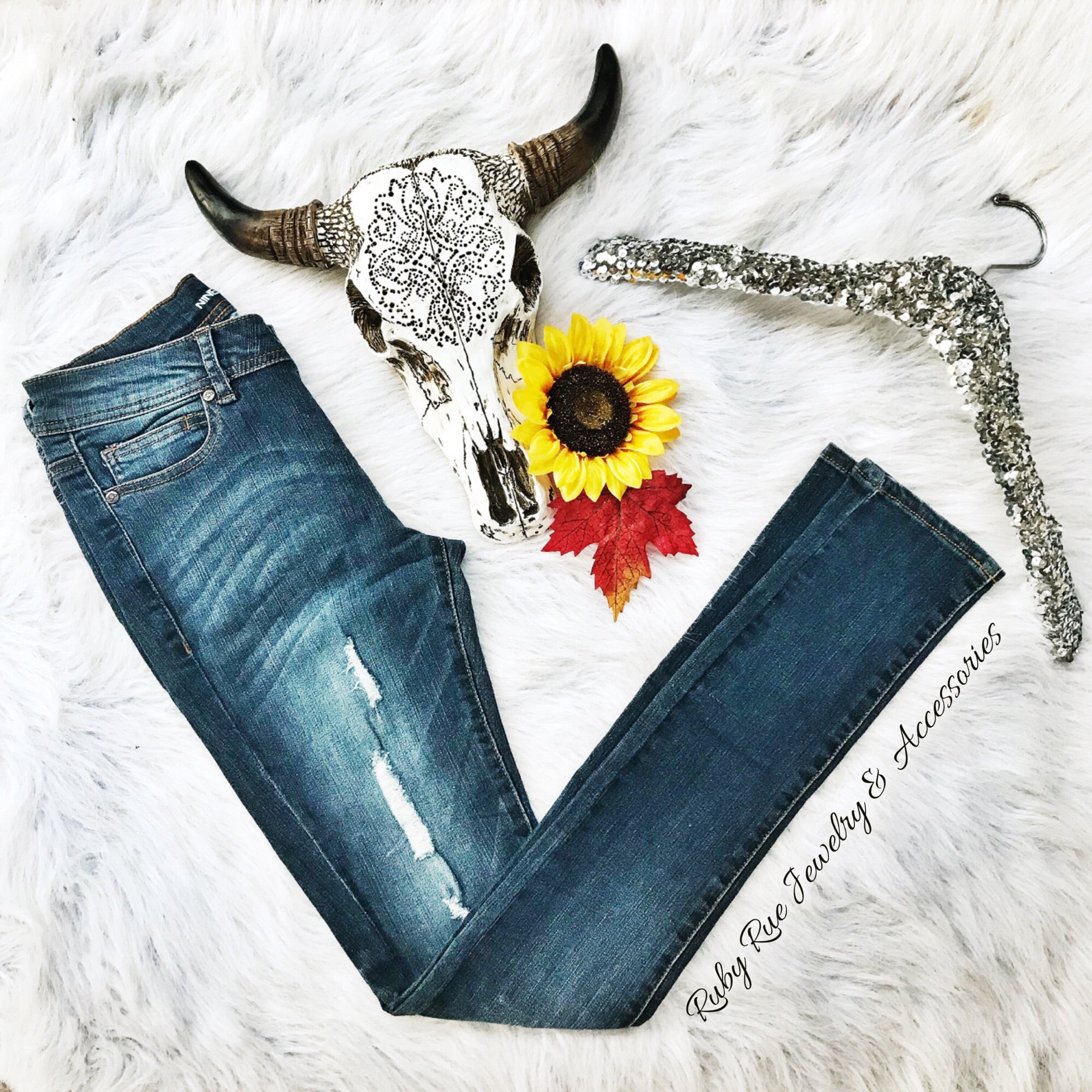 Dark Wash Destructed Skinnies - Ruby Rue Jewelry & Accessories