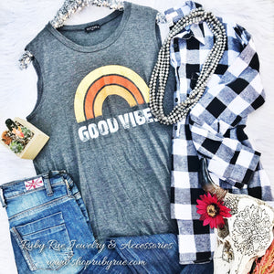 Good Vibes Muscle Tank - Ruby Rue Jewelry & Accessories