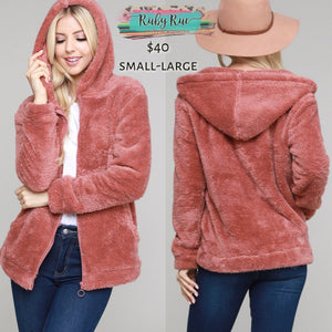 The Brielle Blush Sherpa Zip up - Ruby Rue Jewelry & Accessories