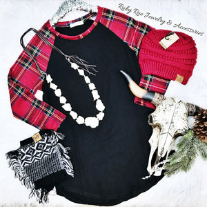 Black Plaid Raglan - Ruby Rue Jewelry & Accessories