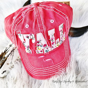 Red Floral Hey Y'all Hat - Ruby Rue Jewelry & Accessories