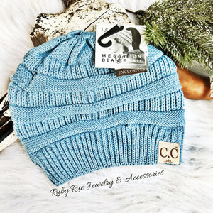 Denim CC Messy Bun Beanie - Ruby Rue Jewelry & Accessories