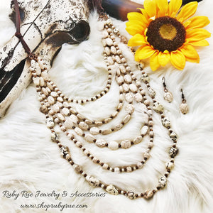 6 Layer Ivory Stone Necklace - Ruby Rue Jewelry & Accessories