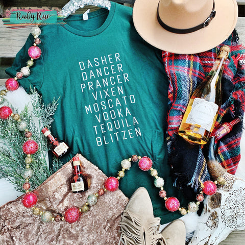 Dasher Prancer Blitzen Tee - Ruby Rue Jewelry & Accessories