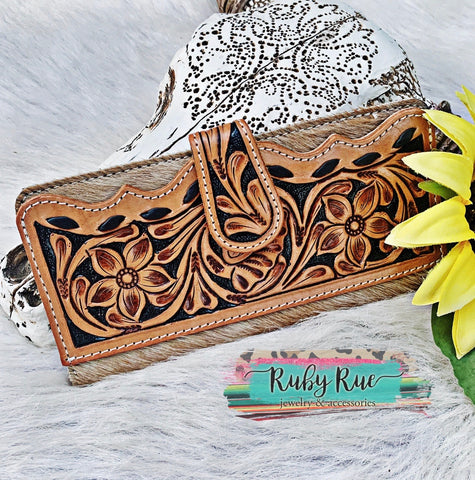 Tooled Cowhide Leather Wallet