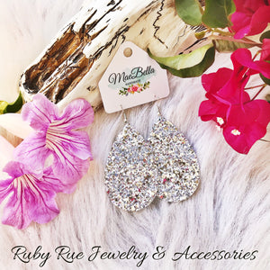 Sparkly Silver Glitter Leather Earrings - Ruby Rue Jewelry & Accessories