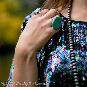 Turquoise Slab Ring - Ruby Rue Jewelry & Accessories
