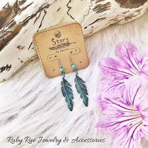 Patina Feather Earrings - Ruby Rue Jewelry & Accessories