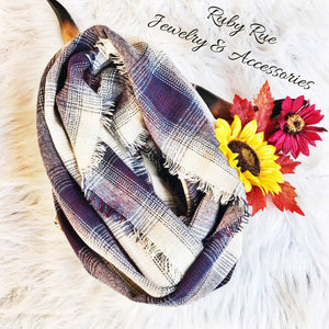 Purple & Navy Infinity Scarf - Ruby Rue Jewelry & Accessories