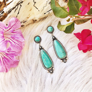 Turquoise Statement Earrings - Ruby Rue Jewelry & Accessories