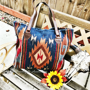Blue Aztec Wool Tote - Ruby Rue Jewelry & Accessories