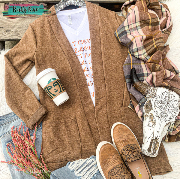 Mocha Brushed Sweater Cardigan