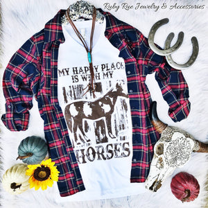 Happy Place & Horses Tee - Ruby Rue Jewelry & Accessories