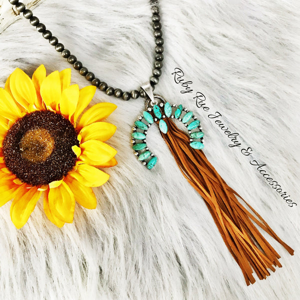 Squash Blossom Leather Tassel Necklace - Ruby Rue Jewelry & Accessories