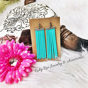 Turquoise Fringe Leather Earrings