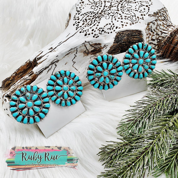 Large Authentic Turquoise Cluster Earrings - Ruby Rue Jewelry & Accessories