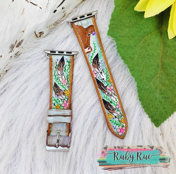 Custom Hand Painted Apple/Fitbit Leather Bands