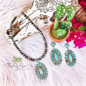 Large Turquoise Pendant Earrings - Ruby Rue Jewelry & Accessories