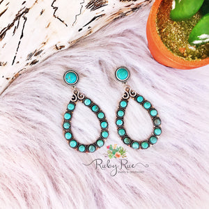 Large Natural Turquoise Hoops - Ruby Rue Jewelry & Accessories