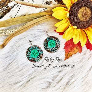 Green Flower Western Earrings - Ruby Rue Jewelry & Accessories