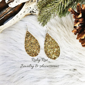 Yellow Gold Glitter Earrings - Ruby Rue Jewelry & Accessories
