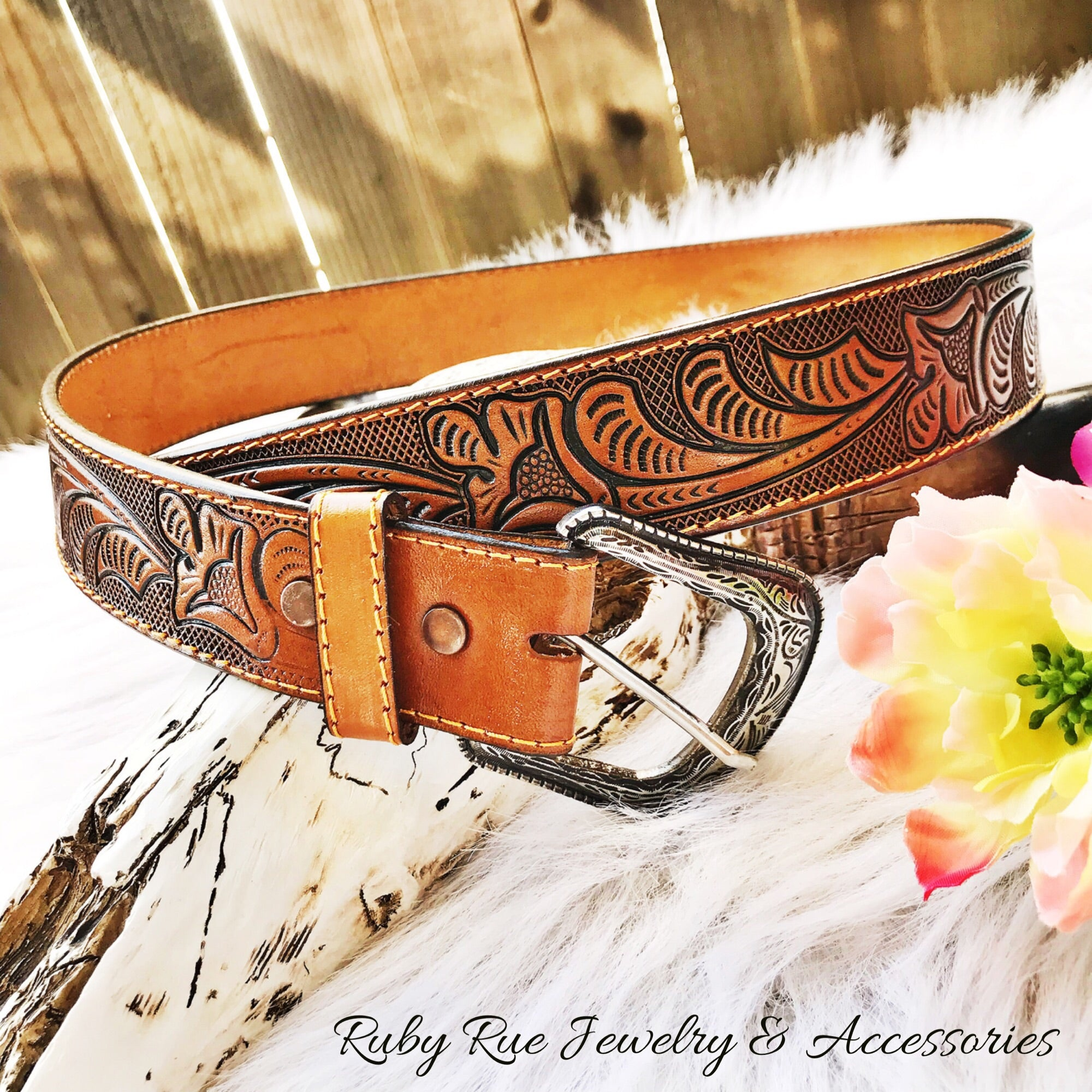 The Bailey Leather Tooled Belt - Ruby Rue Jewelry & Accessories