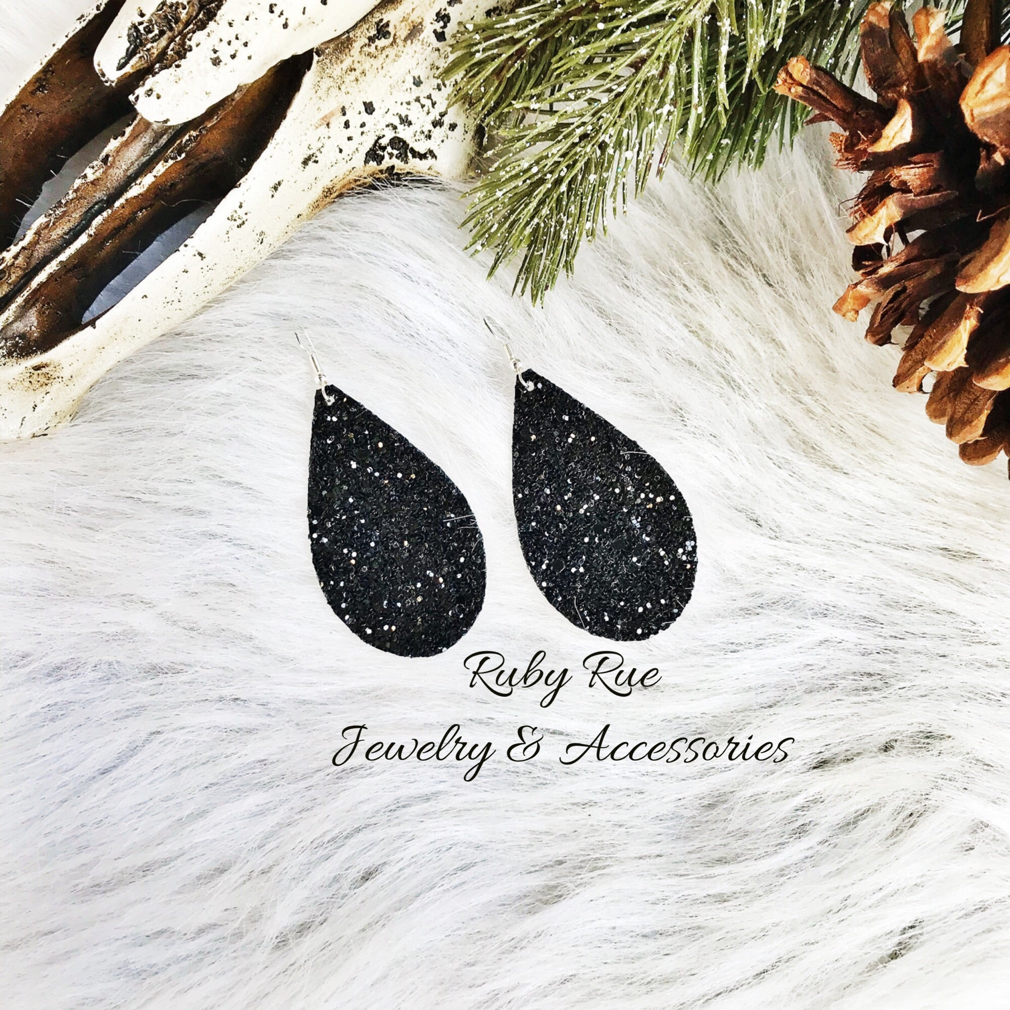 Black Glitter Leather Earrings - Ruby Rue Jewelry & Accessories