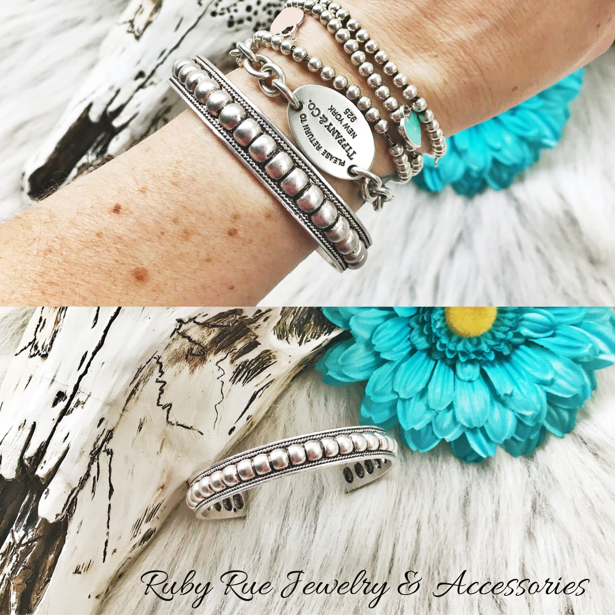 Antiqued Silver Cuff - Ruby Rue Jewelry & Accessories