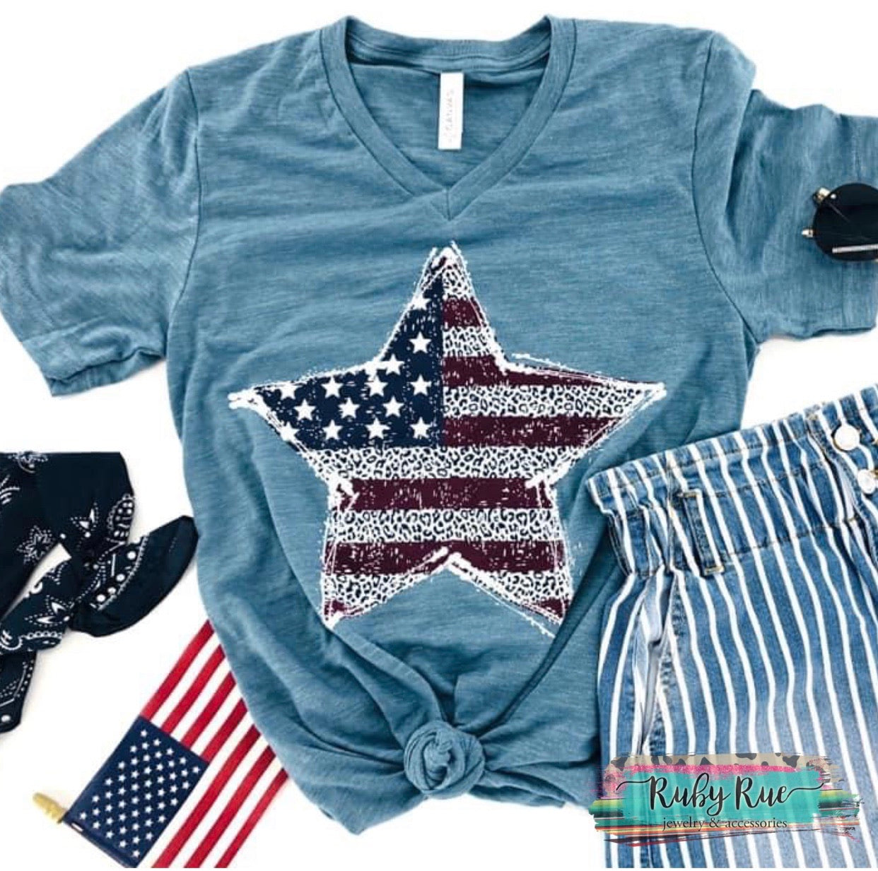 Star Flag Tee - Ruby Rue Jewelry & Accessories