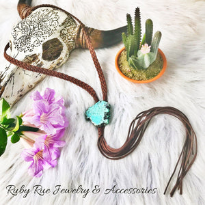 Turquoise Slab Leather Braided Bolo - Ruby Rue Jewelry & Accessories